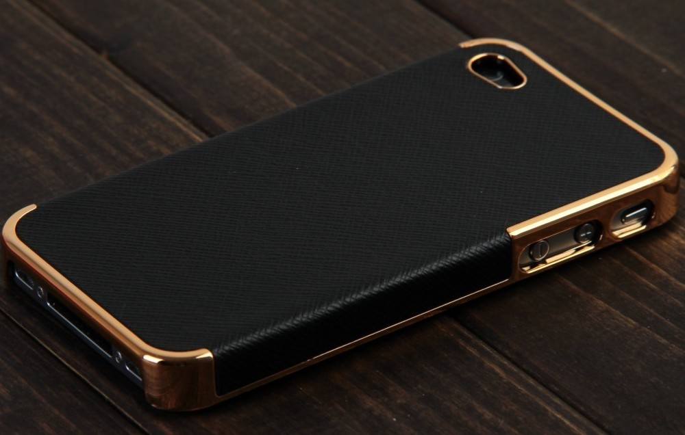 New Black&Gold Deluxe Chrome Leather Case Cover for iPhone 4&4S+Screen Protector