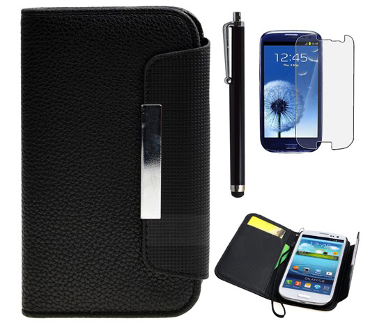 Magnetic Stripe Leather Card Wallet Case Cover For Galaxy S3 III i9300 B